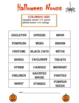 Halloween Singular and Plural Nouns Coloring Fun
