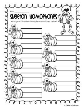 Halloween: Skeleton Homophones Match