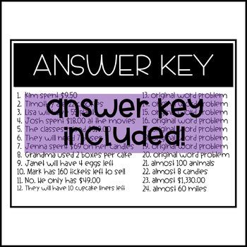 Halloween Skeleton Multi-Step Word Problem Task Cards CCSS 4.OA.3