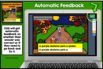 Halloween Skeleton Sentence Typing Task Cards - Play on Internet BOOM CARDS