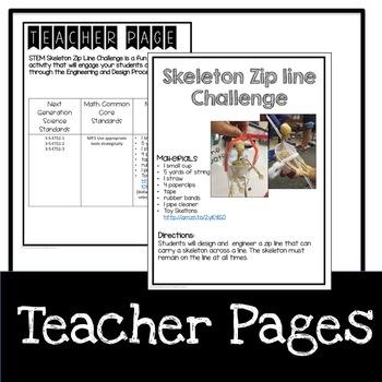 Halloween Skeleton Zip Line STEM Challenge