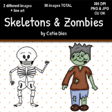 Halloween - Skeletons & Zombies Clip Art