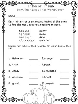 Halloween Math Worksheets and Games