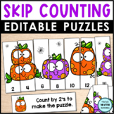 Halloween Skip Counting Number Puzzles with Editable Options