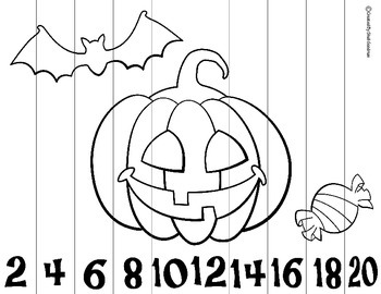Halloween Skip Counting Puzzles 2's, 5's and 10's