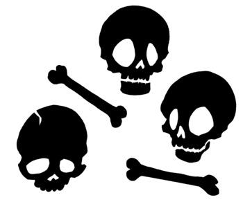 Halloween Skulls and Bones Silhouette Clip Art