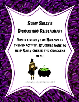 Halloween Slimy Sally's Restaurant Activity