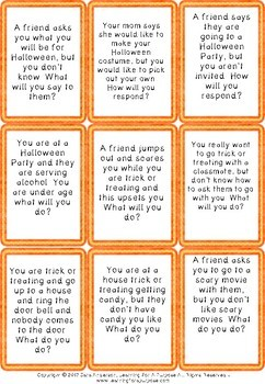 Halloween Social Situation Cards and Problem Solving