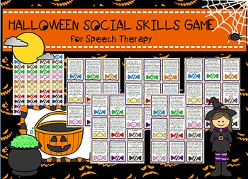 Halloween Social Skills /Pragmatics/Etiquette Activity game Speech therapy HFA