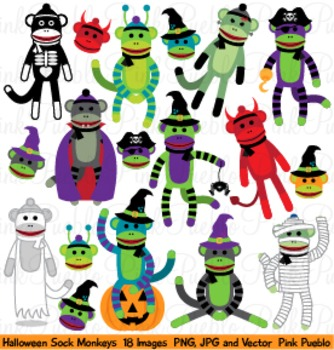 Halloween Sock Monkey Clipart Clip Art - Commercial and Personal Use