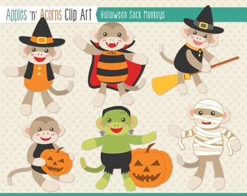 Halloween Sock Monkeys Clip Art - color and outlines