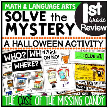 Halloween Solve the Mystery Math & ELA Task Card Activity 1st Grade