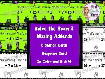Addition Solve the Room Activity for Halloween