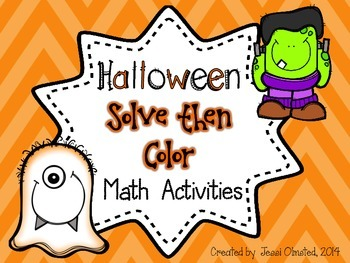 Halloween Solve then Color Math Activities