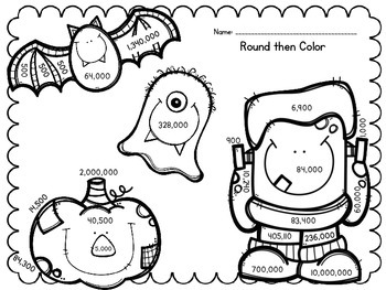 Halloween Solve then Color Math Activities