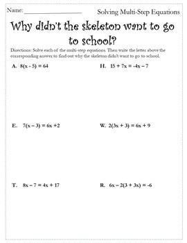 Solve Multistep Equations {Halloween Algebra 1 and 2 Halloween Activity}