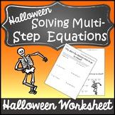 Halloween Algebra 1 and 2 Halloween Activity {Solve Multistep Equations}