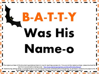 Halloween Song And Posters B-A-T-T-Y Was His Name-O