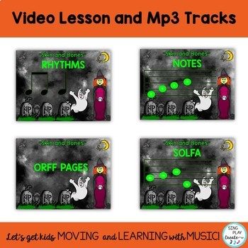 "Halloween Music Class Lesson: ""Skin and Bones"" Orff, Kodaly, Guitar, Video, Mp3"