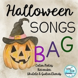 Halloween Songs for Recorder with Color Notes and  Chords