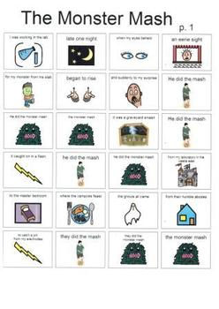 Halloween Songs with Boardmaker Song Sheets for upper grades