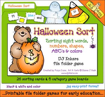 Halloween Sort File Folder Game
