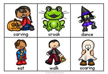 Halloween Sorting   Halloween Literacy Center   Nouns Verbs Adjectives