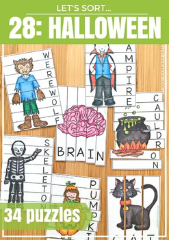 Halloween Word Puzzles and Spelling Practice