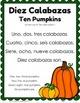 Halloween Spanish Number Words Activity Diez Calabazas Ten Little Pumpkins