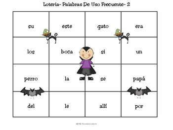 Halloween Spanish Sight Word Bingo Game