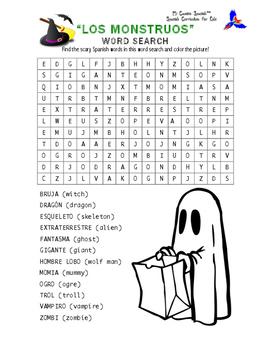 Halloween Spanish Word Search
