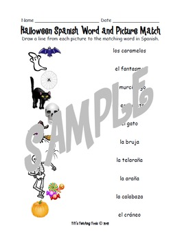 Halloween Spanish Word and Picture Match