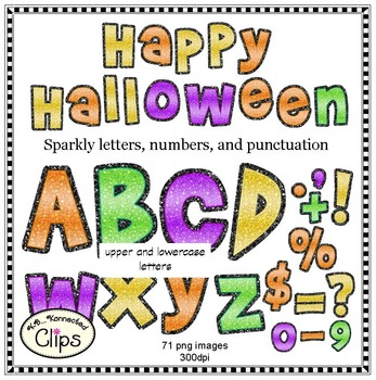 Halloween Sparkly Letters and Numbers
