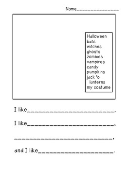 Halloween Special Education I Can Write a Sentence