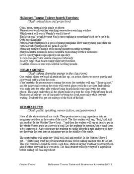 Halloween Speech Exercises & Activities