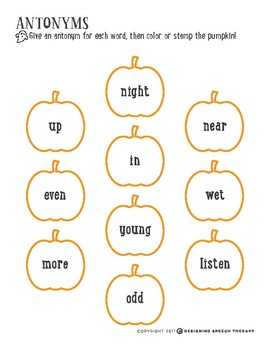 Halloween Speech & Language Activities