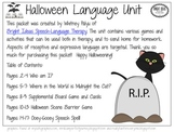 Halloween Speech & Language Unit