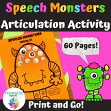 Halloween Speech Monsters Printable Articulation Activity
