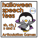 Halloween Speech Tees sh, ch, j, s & z | Articulation Games | Speech Therapy