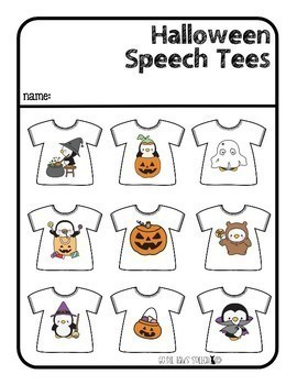 Halloween Speech Tees sh, ch, j, s & z | Articulation Games | Speech Therapy