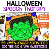 Halloween Speech Therapy Activities plus Yes No and WH Questions
