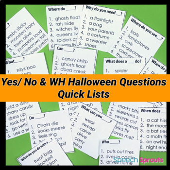 Halloween Speech Therapy Activities - Yes-No & WH Questions