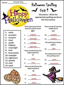 halloween activities halloween spelling activity packet bundle color b w. Black Bedroom Furniture Sets. Home Design Ideas