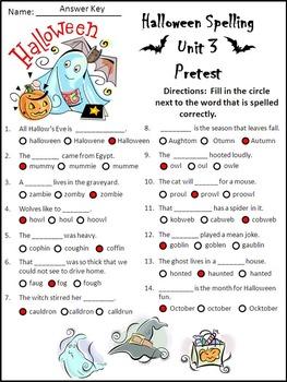 Halloween Activities: Halloween Spelling Activity Packet Bundle - Color & B/W