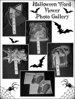 Halloween Spelling Activities: Halloween Word Viewers Activity  - B&W