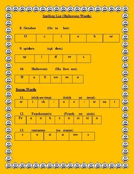 Halloween Spelling List