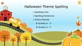 Spelling Lists and Choice Boards for Halloween