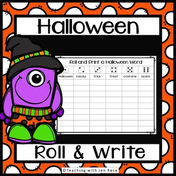 """Halloween Game  - Roll a Word (""""Roll It and Write It"""")"""