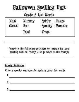 Halloween Spelling Unit