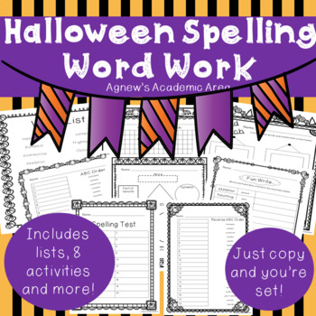 Halloween Spelling Word Work ~ NO PREP~